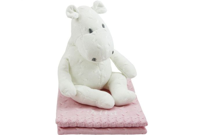 Babys Only Deken Roze.Baby S Only Nijlpaard Op Gebreide Deken Wit Op Roze