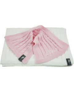 Gebreide katoenen babydeken met spuuglap - wit/roze