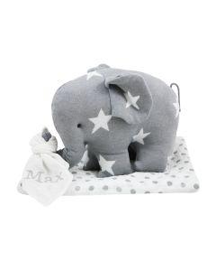 Gebreide olifant van Baby's Only op Lulujo swaddle, grey