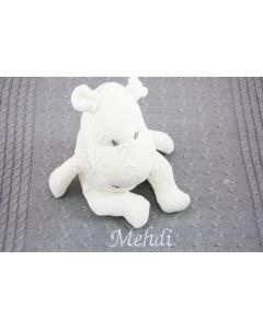 Baby's Only nijlpaard op gebreide deken, wit op lichtgrijs