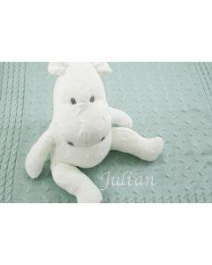 Baby's Only gebreide Hippo op gebreide deken, wit op jade