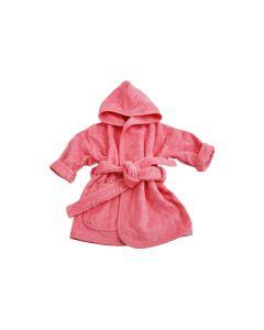 Badjasje met naam geborduurd 0 - 1 jaar, coral pink