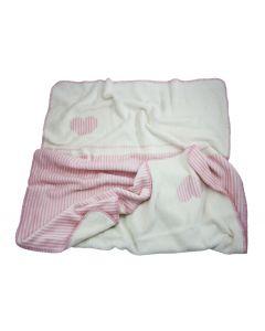 Double faced babydeken, Pure Joy met hartjes - roze streep