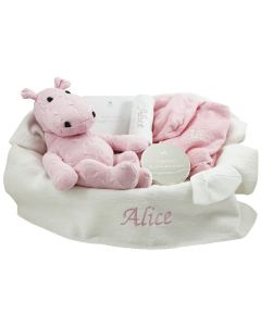 Luxe babymand met gebreide nijlpaard en verzilverd BamBam doosje, wit/roze