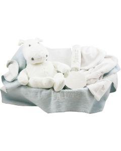 Luxe babymand met gebreide nijlpaard en verzilverd BamBam doosje, lagoon/wit