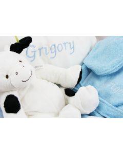 Babymand met geborduurde deken, kussen en badjasje - blauw