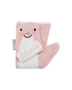 Baby Shower Glove met monddoekje, roze, lichtblauw of ecru