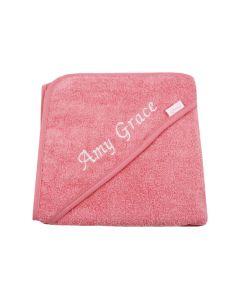 Badcape met naam, coral pink