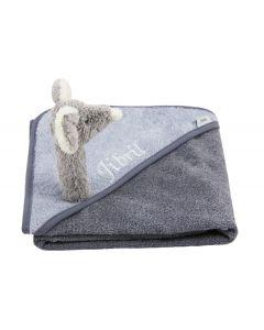 Badcape met babyname en muis rammelaar - antraciet/grijs