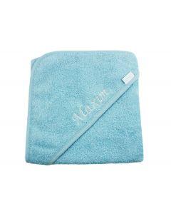 Badcape met naam geborduurd - aqua blauw