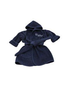 Badjas met naam geborduurd 1-2  jaar, nachtblauw
