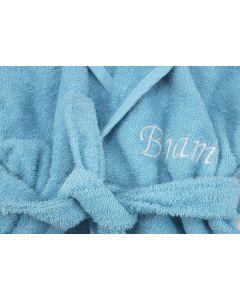 Badjas met naam geborduurd 1 - 2 jaar, aqua