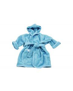 Badjasje met naam geborduurd 0 -1 jaar, aqua blauw