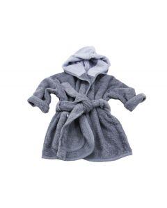 Badjas met naam geborduurd 1 -2 jaar, antraciet/grijs