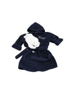 Badjas met zeehondje, 0-1 jaar, nachtblauw