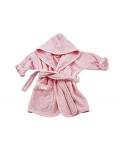 Badjasje met naam geborduurd 0 - 1 jaar, roze