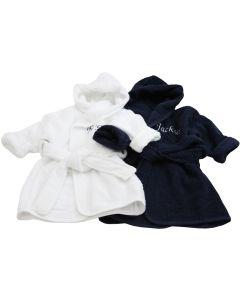 Tweeling badjassen, wit en nachtblauw / 0 -1 jaar