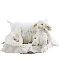 Bashful Lamb basket met babykussen