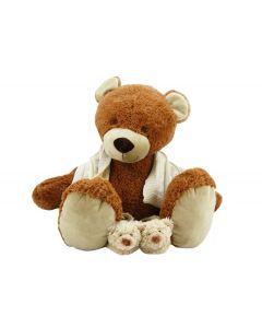 Bear Brownie op gebreid monddoekje met naam