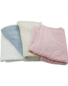 Biologische gebreide babydeken in wit, roze, beige of lichtblauw