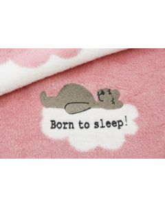 Born to sleep babydeken, pale pink/roomwit