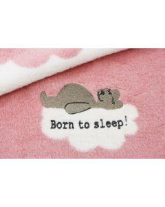 Born to sleep babydeken, pale pink/roomwit