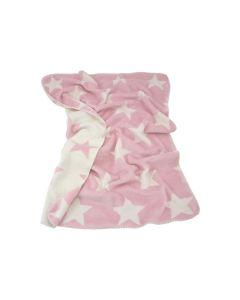 Fluweelzachte Double faced babydeken met sterretjes, roze