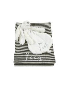 Ivory Rabbit Richi tuttle op babydeken met wafelstructuur, antraciet-roomwit