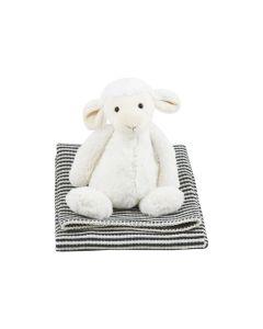 Bashful Lamb op babydeken met wafelstructuur, antraciet-roomwit