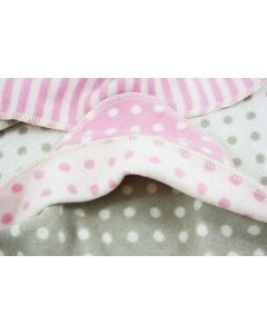 Babydeken met capuchon met naam - taupe/roze met dots