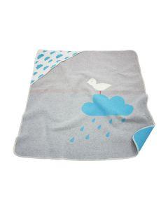 Babydeken met capuchon en babynaam - grijs-blauw met wolkjes