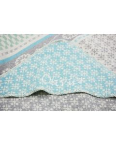 Babydeken met capuchon en babynaam - pale multicolor blue