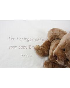 Babydeken met uw eigen tekst en teddybeer