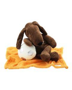 Dog Dalton op orange knuffeldoekje met zachte BamBam voetbal