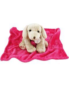 Dog Harold no.2 op knuffeldoekje, hardroze of blauw
