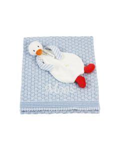 Duck Dali tuttle op gebreide bio deken - blauw