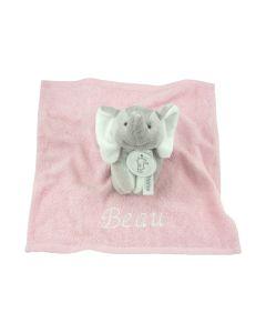 Elephant Elsy Rattle op monddoekje - roze