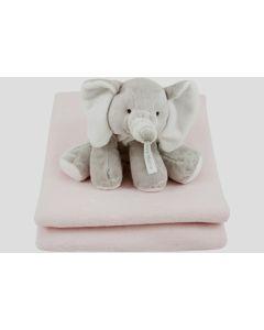 Elephant Elsy op katoenen deken - roze of lichtblauw
