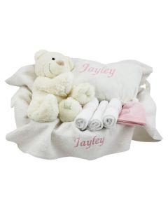 Witte mand met Ivory Bear en babykussen - roze, lichtblauw of champagne