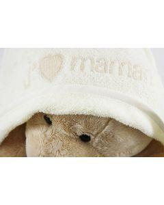 Je t'aime Maman badcape met beer en babynaam - vanilla