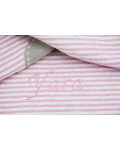 Taupe/roze streep katoenen babydeken met hartje