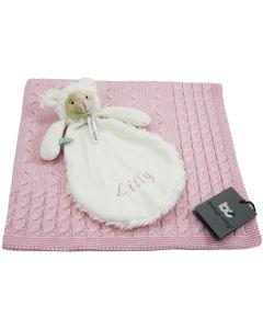 Lamb Lugano tuttle op gebreide babydeken, roze