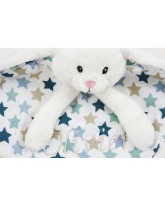 Knuffeldoekje konijn mixed stars met naam, blauw
