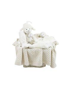 Luiermand met biologische babydeken en Sheep Shaffy Musical, beige/roze of lichtblauw