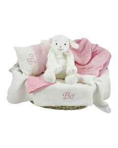 Babymand met geborduurde deken, kussen en badjasje - roze