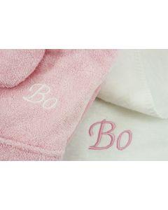 Badjasje 1-2 jaar op katoenen babydeken - roze/wit
