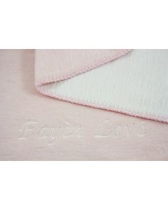Katoenen Double faced babydeken met naam - roze/wit