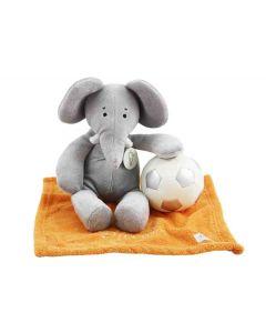 Elephant Enzo op orange knuffeldoekje met zachte BamBam voetbal
