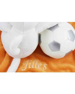 Mouse Moody op orange knuffeldoekje met zachte BamBam voetbal