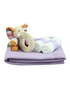 Kraamcadeau, Olifant rammelaar op deken, lila